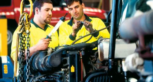 Apprentices in a mechanic